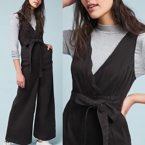 NWT Anthropologie Chino Black Scalloped Jumpsuit
